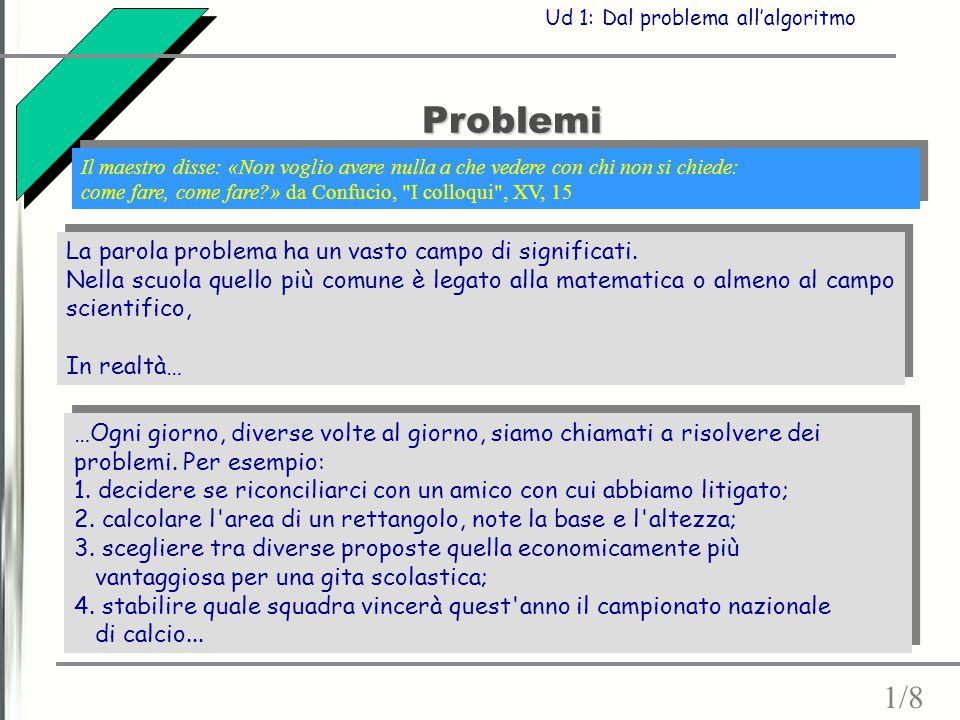 Problemi La parola problema ha un vasto campo di significati. Nella scuola quello più comune è legato alla matematica o almeno al campo scientifico, I