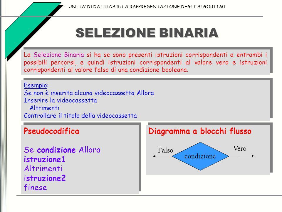 SELEZIONE BINARIA UNITA' DIDATTICA 3: LA RAPPRESENTAZIONE DEGLI ALGORITMI La Selezione Binaria si ha se sono presenti istruzioni corrispondenti a entr