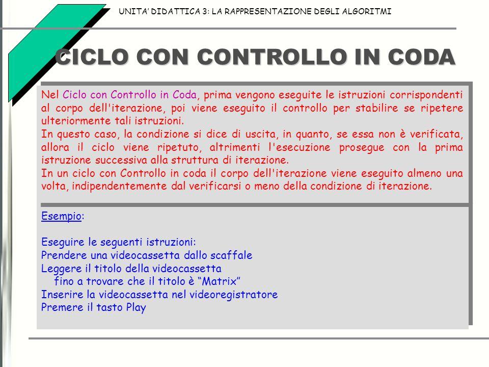 CICLO CON CONTROLLO IN CODA UNITA' DIDATTICA 3: LA RAPPRESENTAZIONE DEGLI ALGORITMI Nel Ciclo con Controllo in Coda, prima vengono eseguite le istruzi