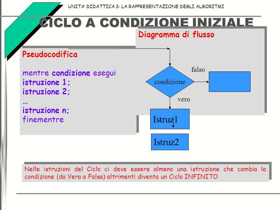 CICLO A CONDIZIONE INIZIALE UNITA' DIDATTICA 3: LA RAPPRESENTAZIONE DEGLI ALGORITMI Nelle istruzioni del Ciclo ci deve essere almeno una istruzione ch