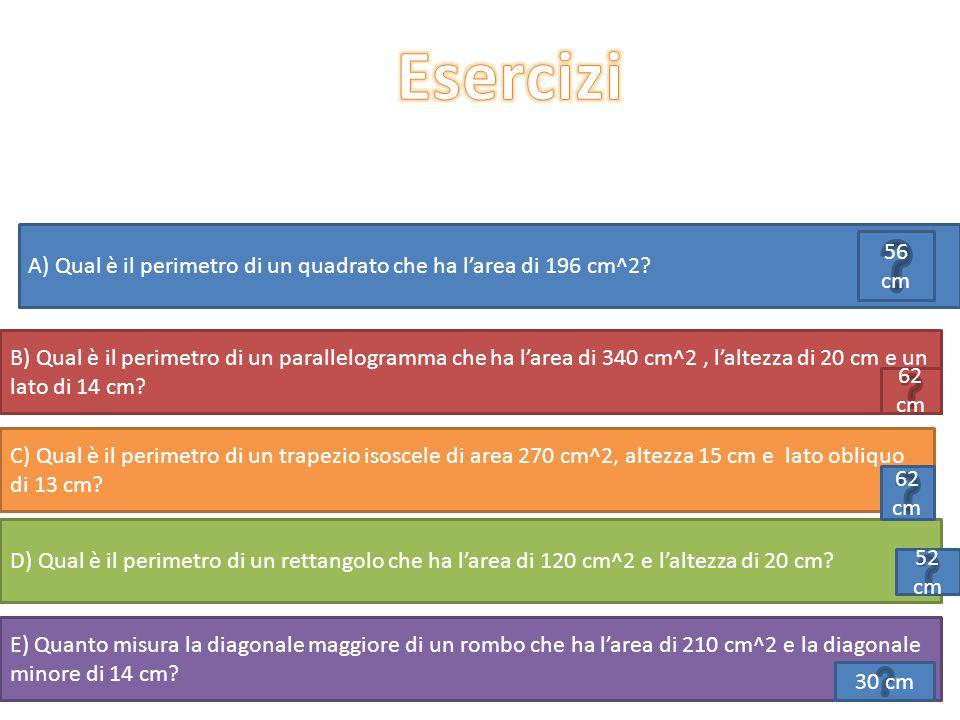 A) Qual è il perimetro di un quadrato che ha l'area di 196 cm^2? D) Qual è il perimetro di un rettangolo che ha l'area di 120 cm^2 e l'altezza di 20 c