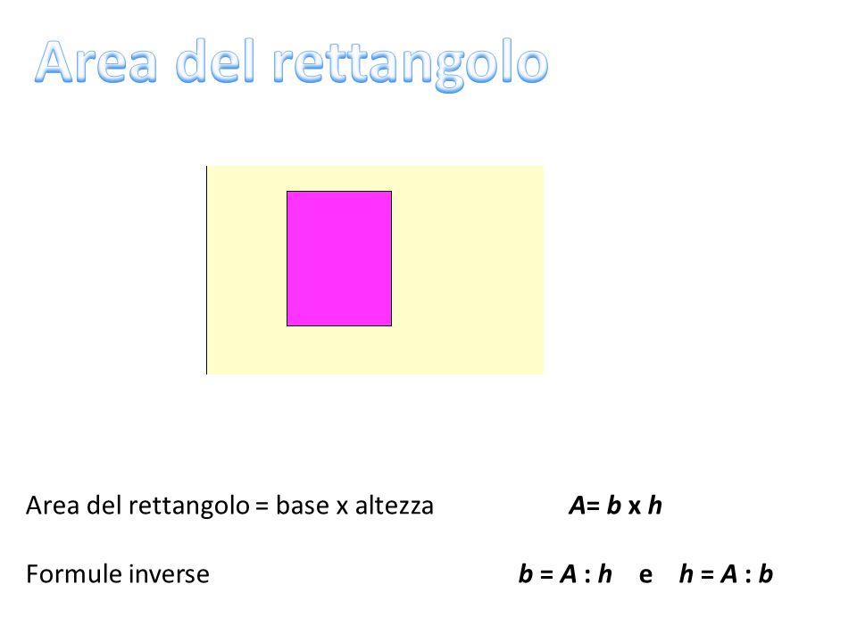 Area del rettangolo = base x altezza A= b x h Formule inverse b = A : h e h = A : b