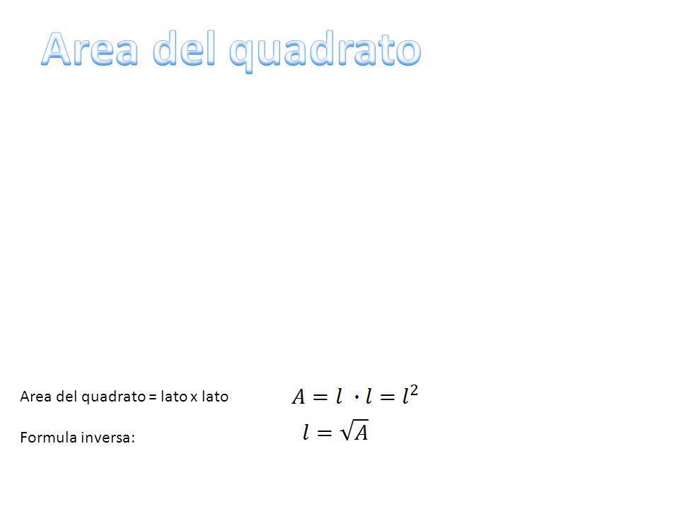 Area del quadrato = lato x lato Formula inversa: