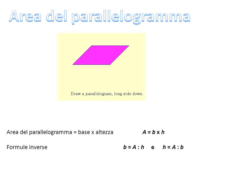 Area del parallelogramma = base x altezza A = b x h Formule inverse b = A : h e h = A : b