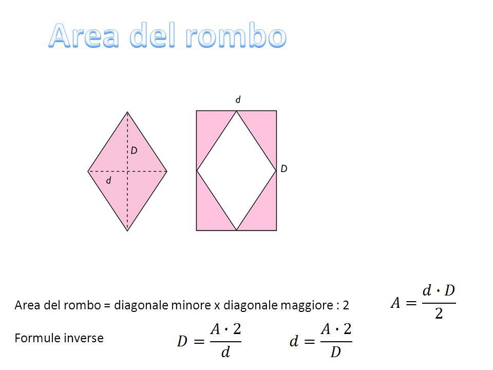 Area del rombo = diagonale minore x diagonale maggiore : 2 Formule inverse