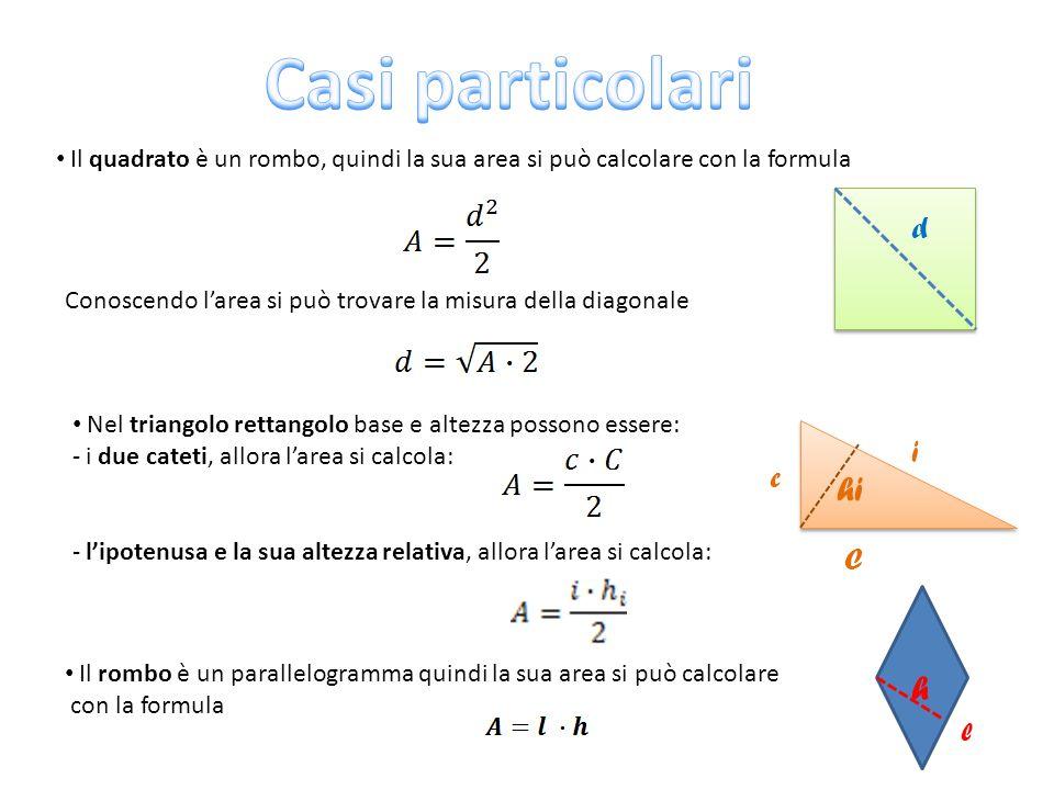 Il quadrato è un rombo, quindi la sua area si può calcolare con la formula Conoscendo l'area si può trovare la misura della diagonale Nel triangolo re