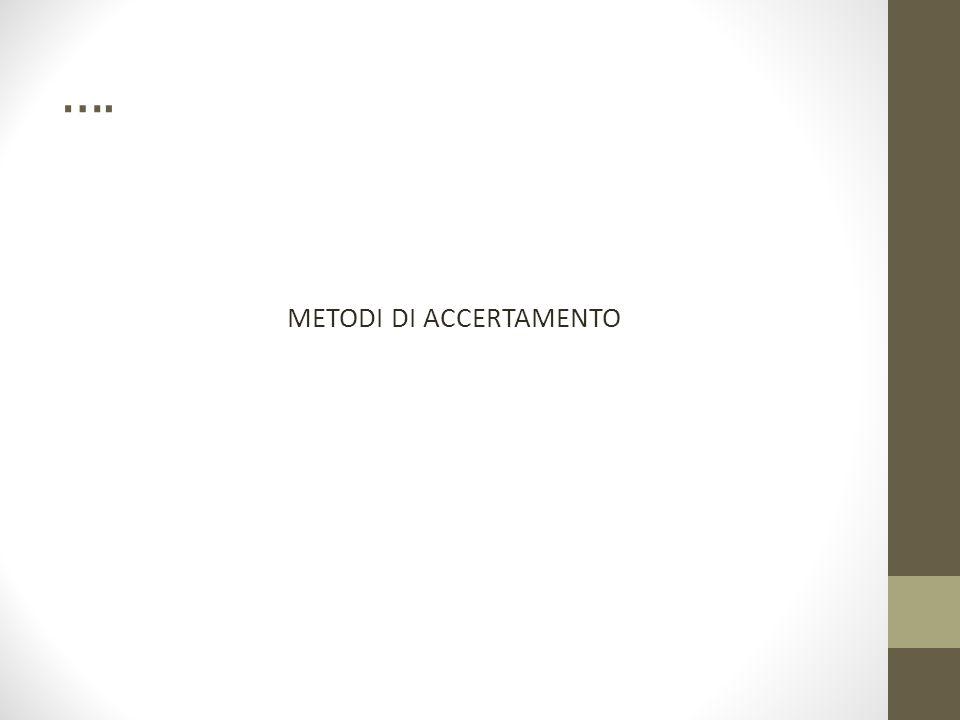 …. METODI DI ACCERTAMENTO