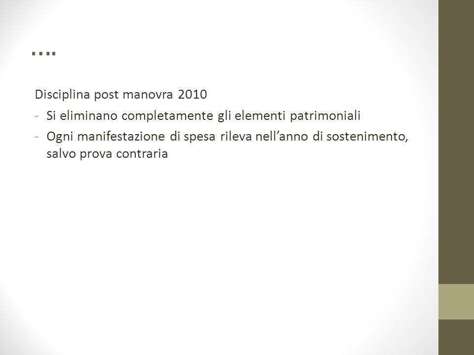 …. Disciplina post manovra 2010 -Si eliminano completamente gli elementi patrimoniali -Ogni manifestazione di spesa rileva nell'anno di sostenimento,