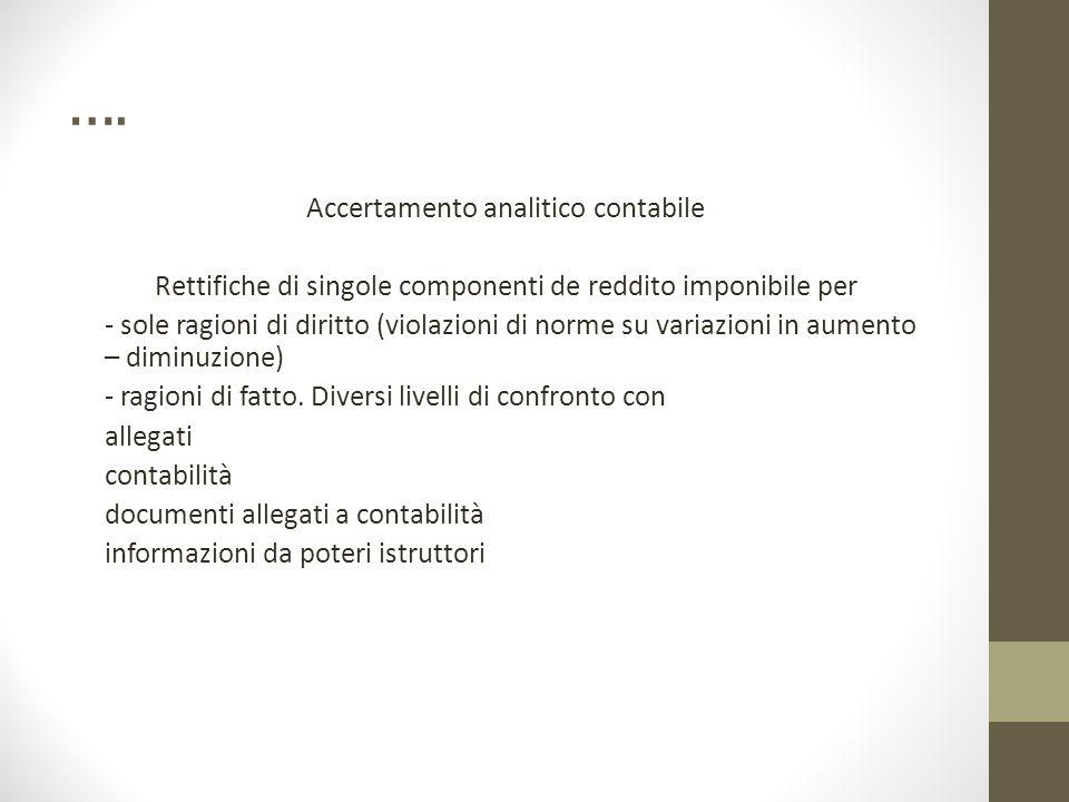 …. Accertamento analitico contabile Rettifiche di singole componenti de reddito imponibile per - sole ragioni di diritto (violazioni di norme su varia