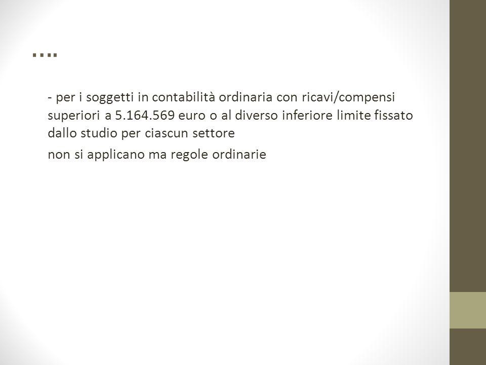 …. - per i soggetti in contabilità ordinaria con ricavi/compensi superiori a 5.164.569 euro o al diverso inferiore limite fissato dallo studio per cia