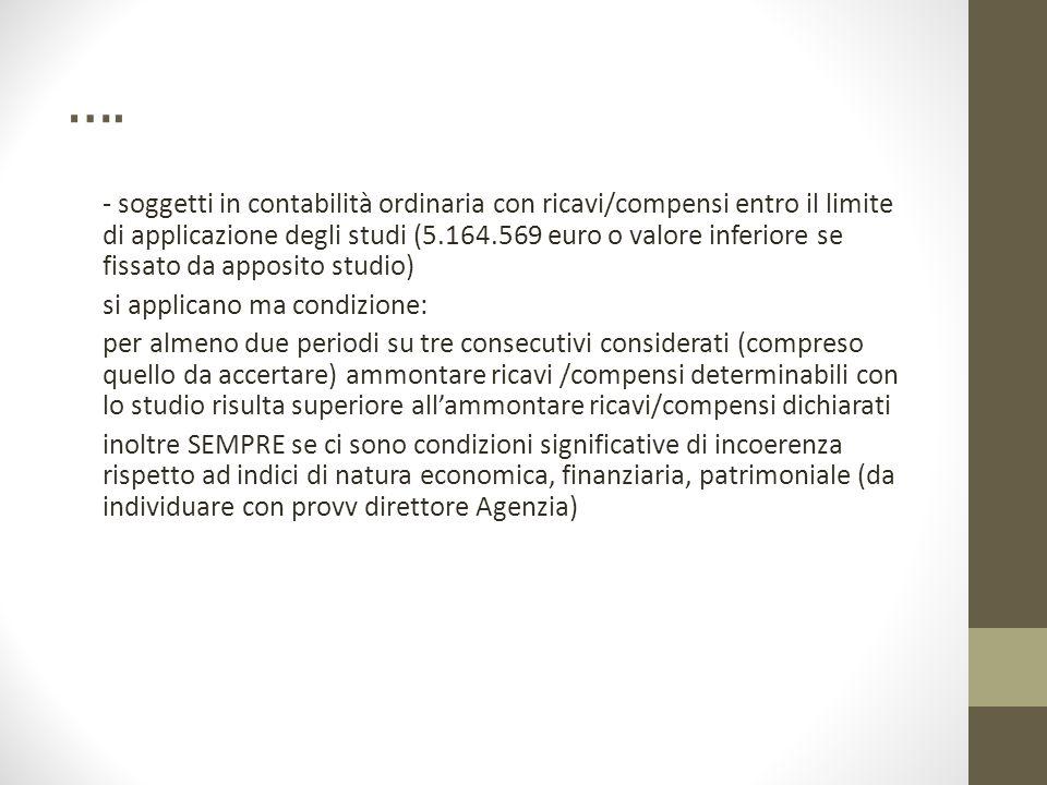 …. - soggetti in contabilità ordinaria con ricavi/compensi entro il limite di applicazione degli studi (5.164.569 euro o valore inferiore se fissato d