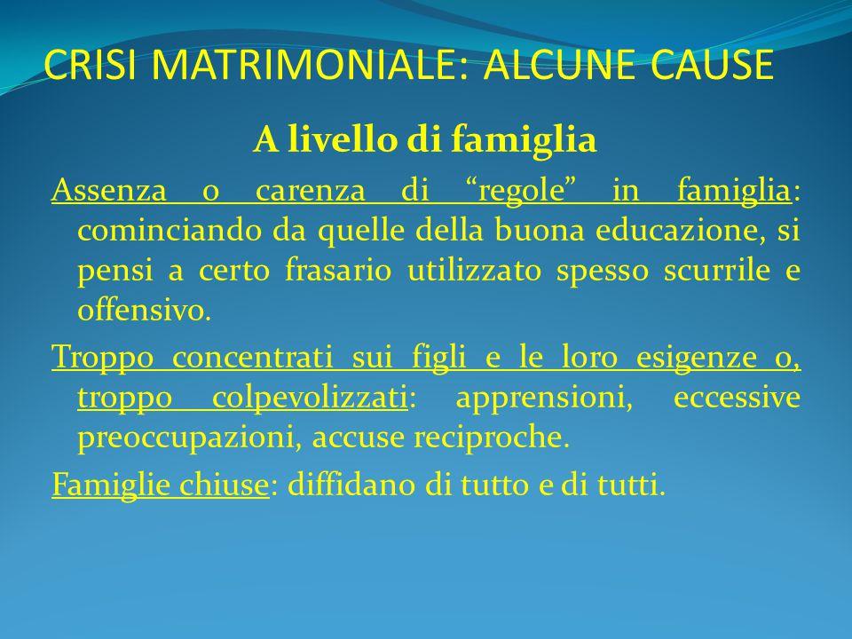 """CRISI MATRIMONIALE: ALCUNE CAUSE A livello di famiglia Assenza o carenza di """"regole"""" in famiglia: cominciando da quelle della buona educazione, si pen"""