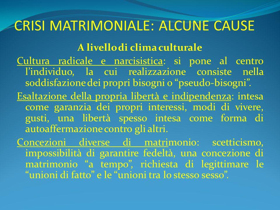 CRISI MATRIMONIALE: ALCUNE CAUSE A livello di clima culturale Cultura radicale e narcisistica: si pone al centro l'individuo, la cui realizzazione con