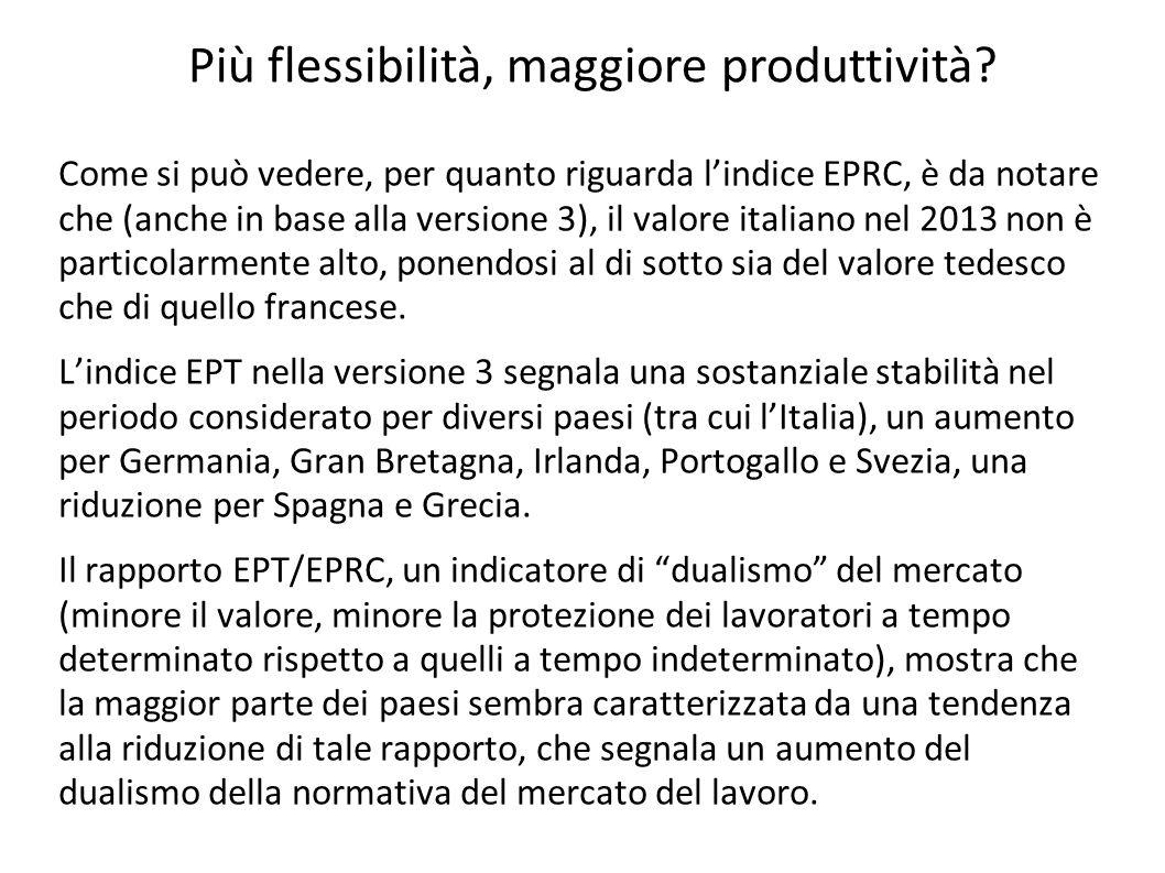 Come si può vedere, per quanto riguarda l'indice EPRC, è da notare che (anche in base alla versione 3), il valore italiano nel 2013 non è particolarme