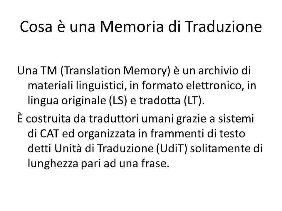 Cosa è una Memoria di Traduzione Una TM (Translation Memory) è un archivio di materiali linguistici, in formato elettronico, in lingua originale (LS) e tradotta (LT).