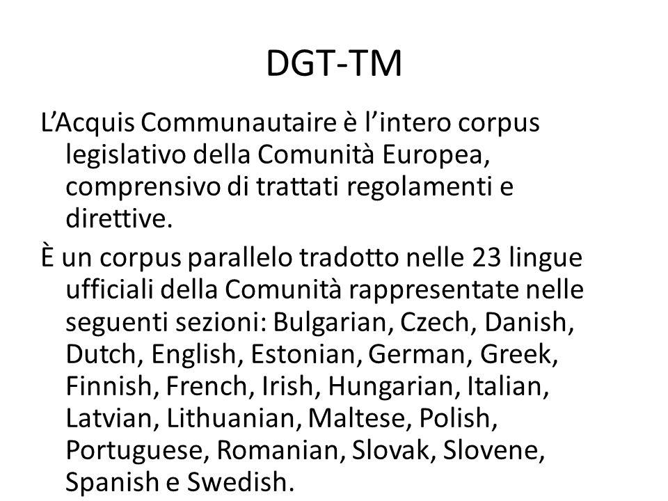 DGT-TM L'Acquis Communautaire è l'intero corpus legislativo della Comunità Europea, comprensivo di trattati regolamenti e direttive.