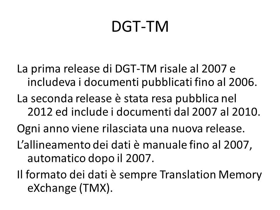 DGT-TM La prima release di DGT-TM risale al 2007 e includeva i documenti pubblicati fino al 2006.