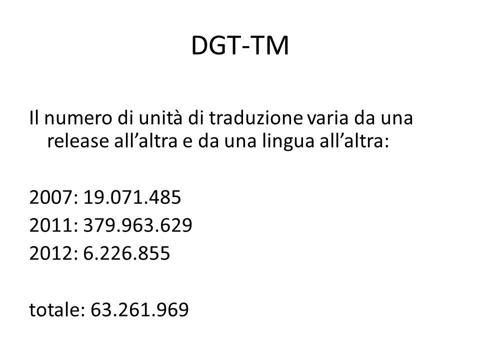 DGT-TM Il numero di unità di traduzione varia da una release all'altra e da una lingua all'altra: 2007: 19.071.485 2011: 379.963.629 2012: 6.226.855 totale: 63.261.969