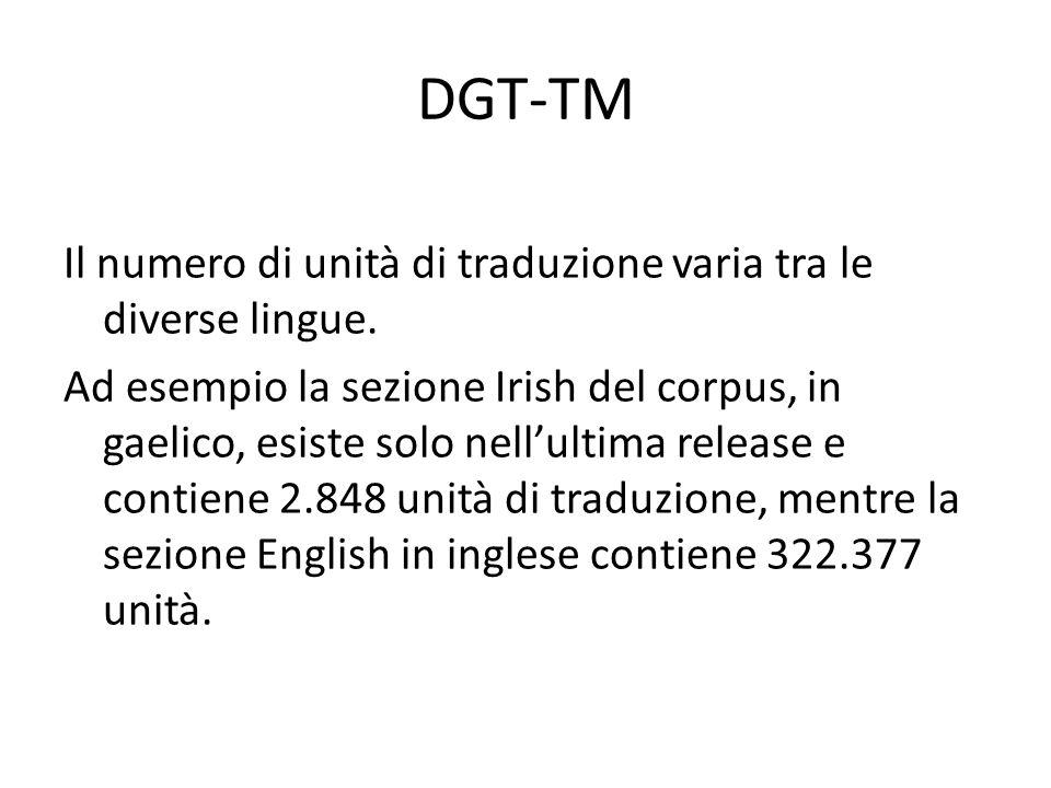 DGT-TM Il numero di unità di traduzione varia tra le diverse lingue.