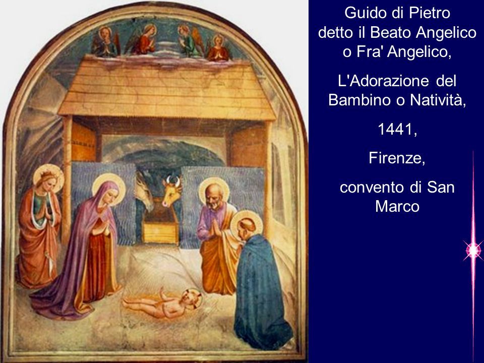 Guido di Pietro detto il Beato Angelico o Fra' Angelico, L'Adorazione del Bambino o Natività, 1441, Firenze, convento di San Marco