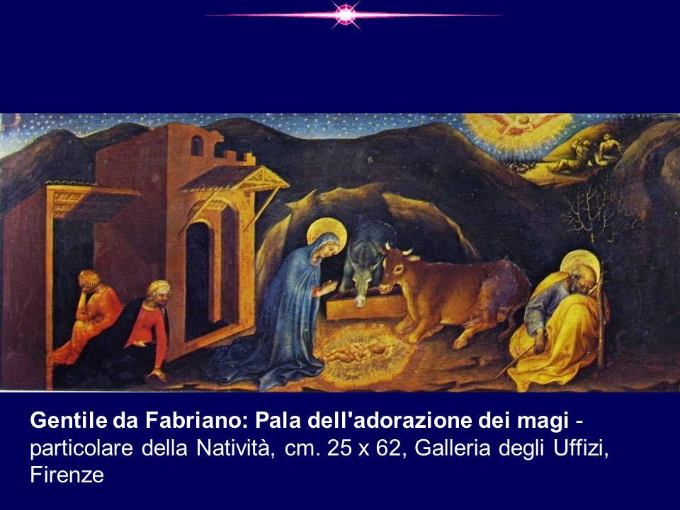 Gentile da Fabriano: Pala dell'adorazione dei magi - particolare della Natività, cm. 25 x 62, Galleria degli Uffizi, Firenze