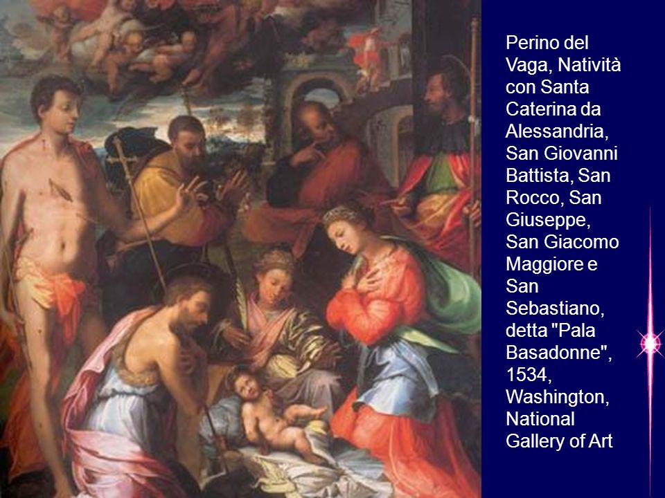 Perino del Vaga, Natività con Santa Caterina da Alessandria, San Giovanni Battista, San Rocco, San Giuseppe, San Giacomo Maggiore e San Sebastiano, de