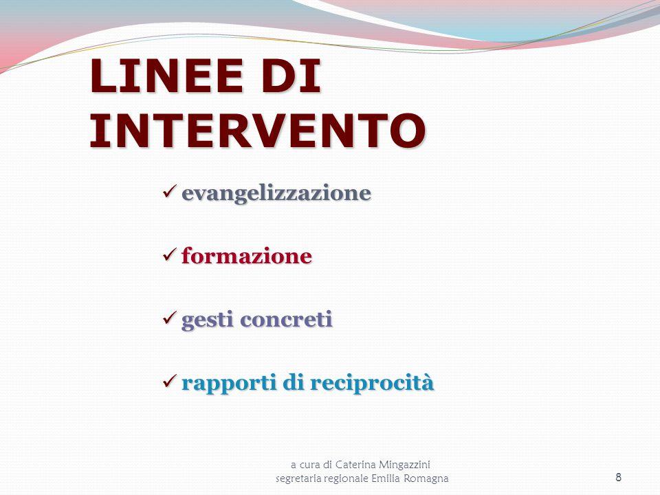 LINEE DI INTERVENTO evangelizzazione evangelizzazione formazione formazione gesti concreti gesti concreti rapporti di reciprocità rapporti di reciproc