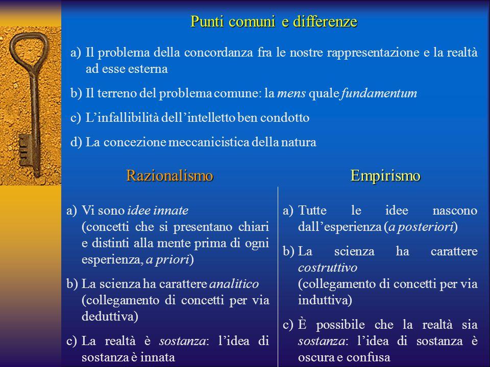 Punti comuni e differenze a)Il problema della concordanza fra le nostre rappresentazione e la realtà ad esse esterna b)Il terreno del problema comune: