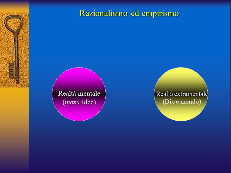 Realtà mentale (mens-idee) Realtà extramentale (Dio e mondo) Razionalismo ed empirismo