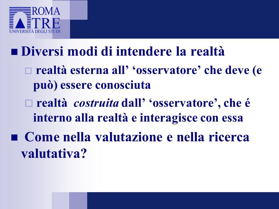 Diversi modi di intendere la realtà  realtà esterna all' 'osservatore' che deve (e può) essere conosciuta  realtà costruita dall' 'osservatore', che é interno alla realtà e interagisce con essa Come nella valutazione e nella ricerca valutativa