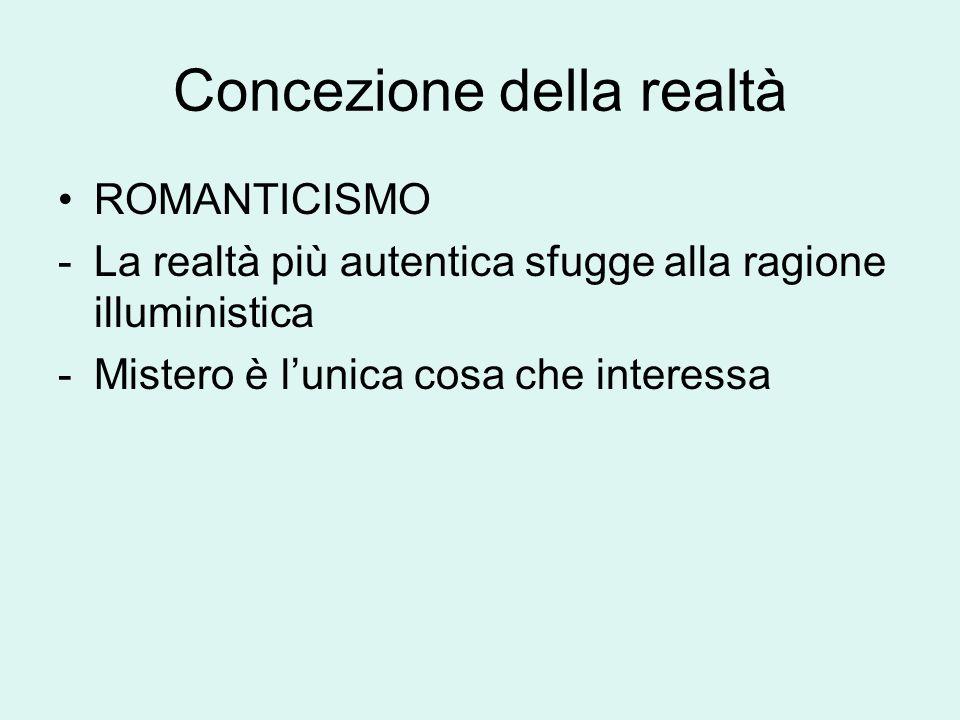 Concezione della realtà ROMANTICISMO -La realtà più autentica sfugge alla ragione illuministica -Mistero è l'unica cosa che interessa