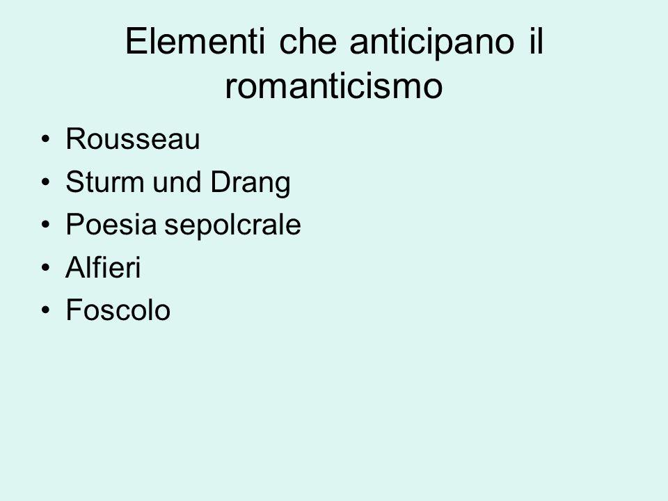 Scuole romantiche e Romanticismo 1)Movimenti culturali consapevoli – scritti teorici e programmatici 1)Nuova sensibilità