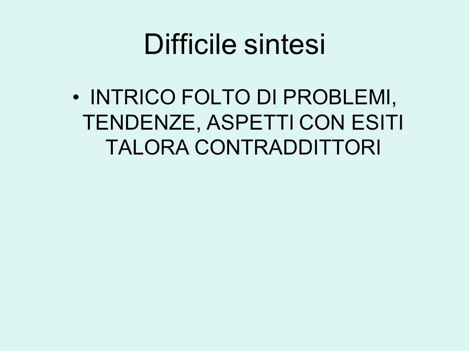 Difficile sintesi INTRICO FOLTO DI PROBLEMI, TENDENZE, ASPETTI CON ESITI TALORA CONTRADDITTORI