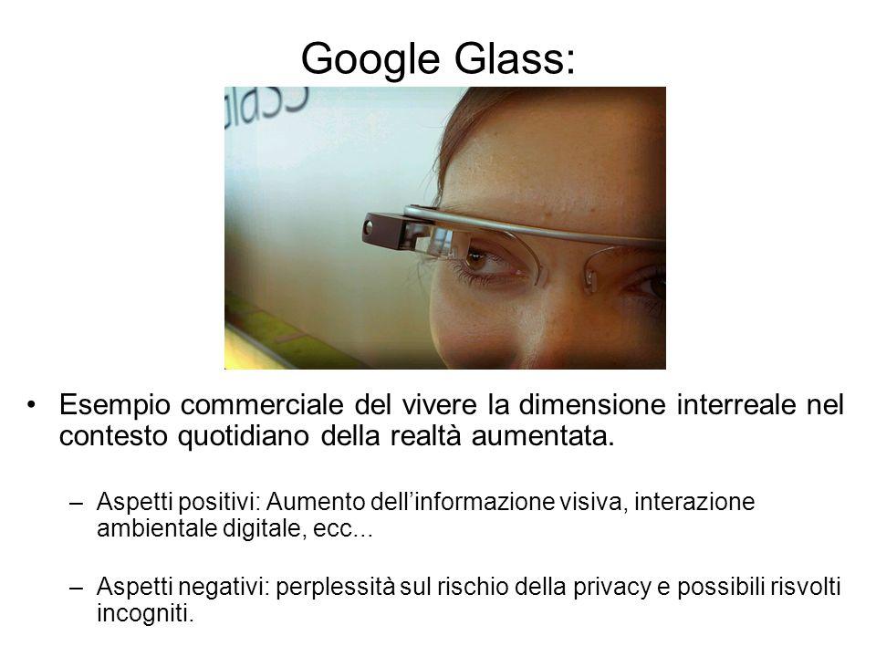 Google Glass: Esempio commerciale del vivere la dimensione interreale nel contesto quotidiano della realtà aumentata.