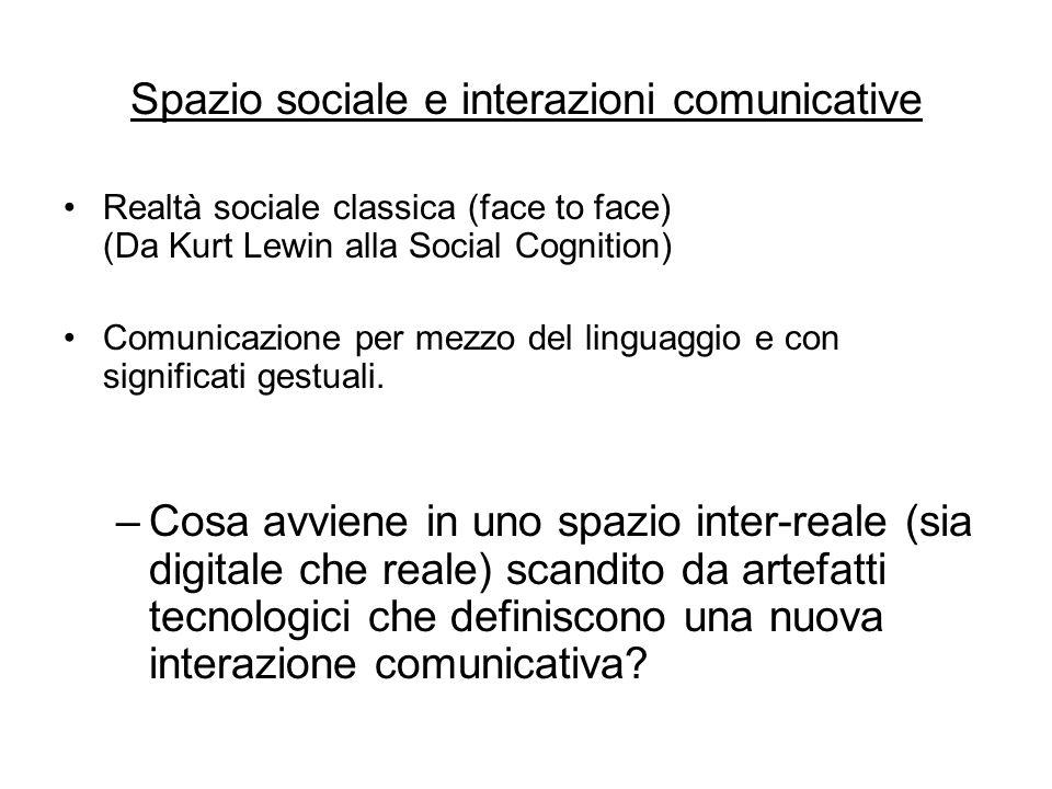 Spazio sociale e interazioni comunicative Realtà sociale classica (face to face) (Da Kurt Lewin alla Social Cognition) Comunicazione per mezzo del linguaggio e con significati gestuali.