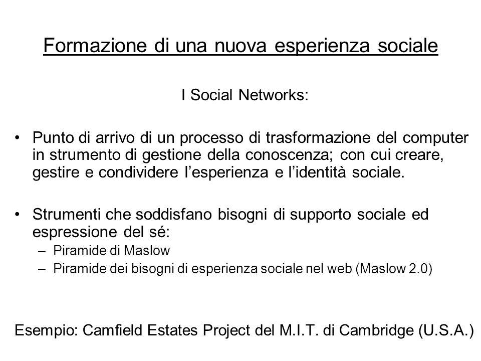 Formazione di una nuova esperienza sociale I Social Networks: Punto di arrivo di un processo di trasformazione del computer in strumento di gestione della conoscenza; con cui creare, gestire e condividere l'esperienza e l'identità sociale.