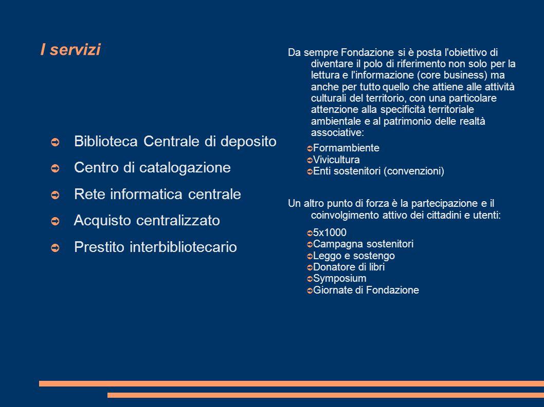 I servizi ➲ Biblioteca Centrale di deposito ➲ Centro di catalogazione ➲ Rete informatica centrale ➲ Acquisto centralizzato ➲ Prestito interbibliotecar