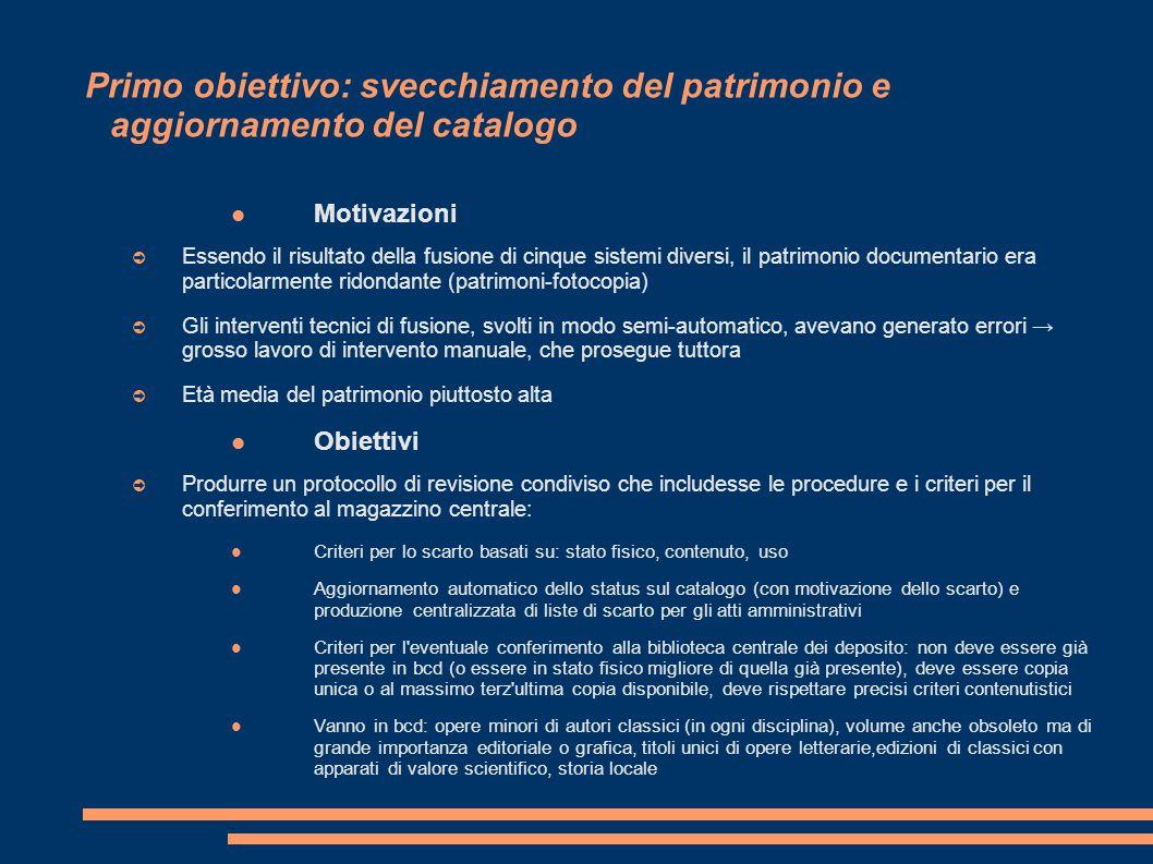 Primo obiettivo: svecchiamento del patrimonio e aggiornamento del catalogo Motivazioni ➲ Essendo il risultato della fusione di cinque sistemi diversi,