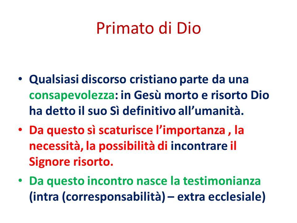 Primato di Dio Qualsiasi discorso cristiano parte da una consapevolezza: in Gesù morto e risorto Dio ha detto il suo Sì definitivo all'umanità.