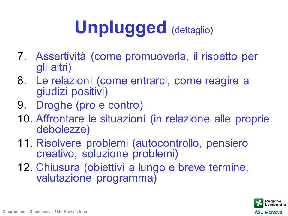 Unplugged (dettaglio) 7. Assertività (come promuoverla, il rispetto per gli altri) 8. Le relazioni (come entrarci, come reagire a giudizi positivi) 9.