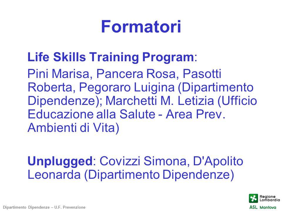 Formatori Life Skills Training Program: Pini Marisa, Pancera Rosa, Pasotti Roberta, Pegoraro Luigina (Dipartimento Dipendenze); Marchetti M. Letizia (