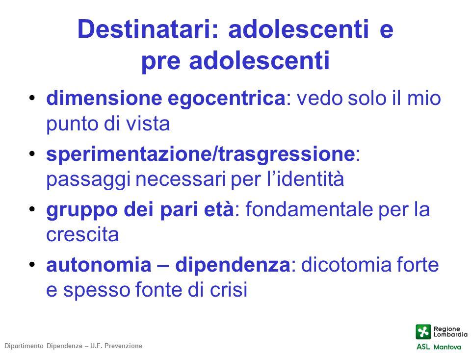 Destinatari: adolescenti e pre adolescenti dimensione egocentrica: vedo solo il mio punto di vista sperimentazione/trasgressione: passaggi necessari p