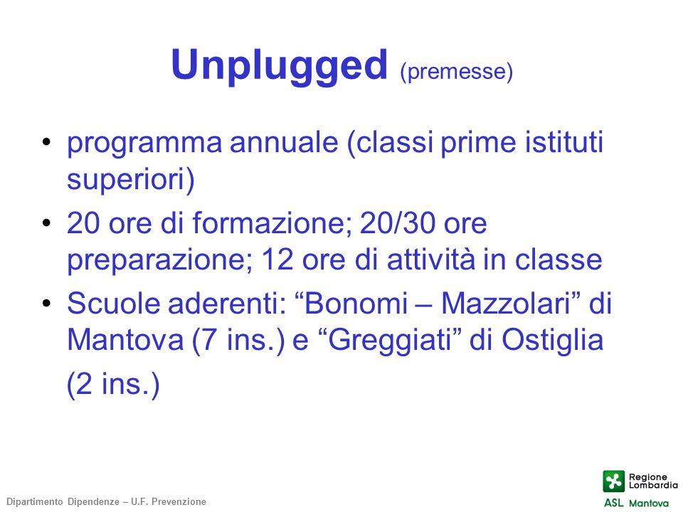 Unplugged (premesse) programma annuale (classi prime istituti superiori) 20 ore di formazione; 20/30 ore preparazione; 12 ore di attività in classe Sc
