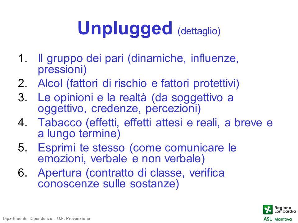 Unplugged (dettaglio) 1.Il gruppo dei pari (dinamiche, influenze, pressioni) 2.Alcol (fattori di rischio e fattori protettivi) 3.Le opinioni e la real