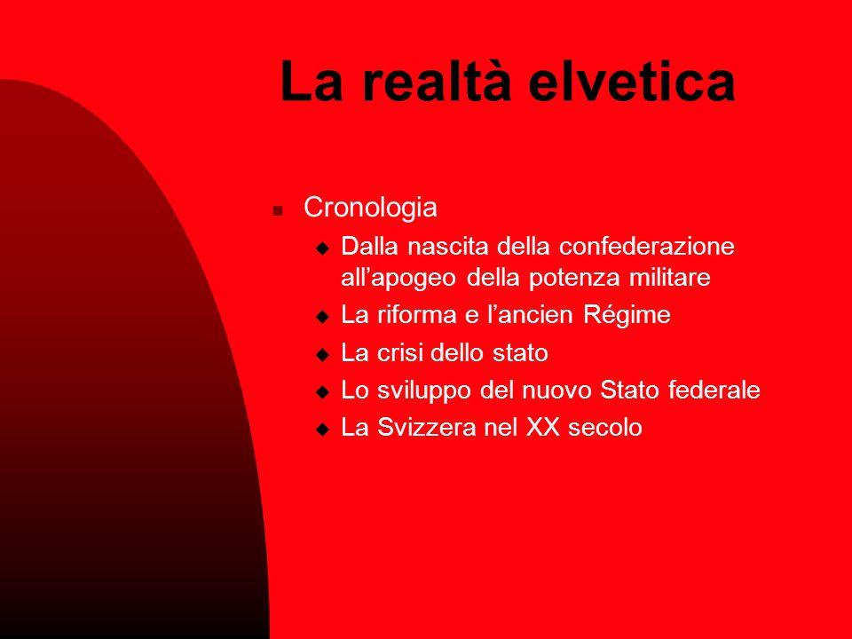La realtà elvetica Cronologia DDalla nascita della confederazione all'apogeo della potenza militare LLa riforma e l'ancien Régime LLa crisi dell