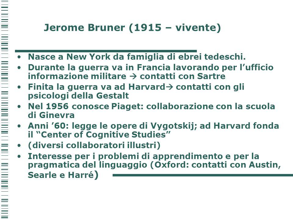 BRUNER VYGOTSKIJ problemi pedagogici sono fondamentali nella teoria di Vygotskij e di Bruner in quanto per loro l'esperienza culturale è il fattore cardine dello sviluppo intellettuale.