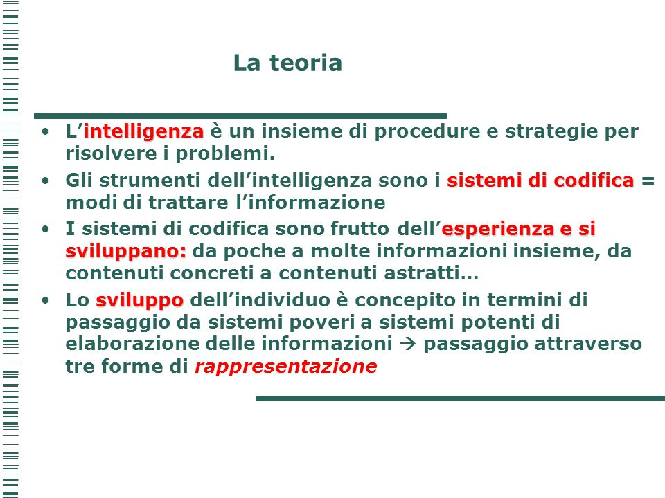 La teoria intelligenzaL'intelligenza è un insieme di procedure e strategie per risolvere i problemi. sistemi di codificaGli strumenti dell'intelligenz
