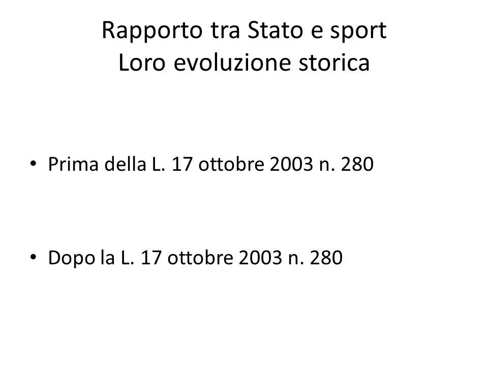 Rapporto tra Stato e sport Loro evoluzione storica Prima della L.