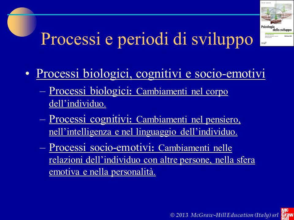 © 2013 McGraw-Hill Education (Italy) srl Processi e periodi di sviluppo Processi biologici, cognitivi e socio-emotivi –Processi biologici : Cambiamenti nel corpo dell'individuo.