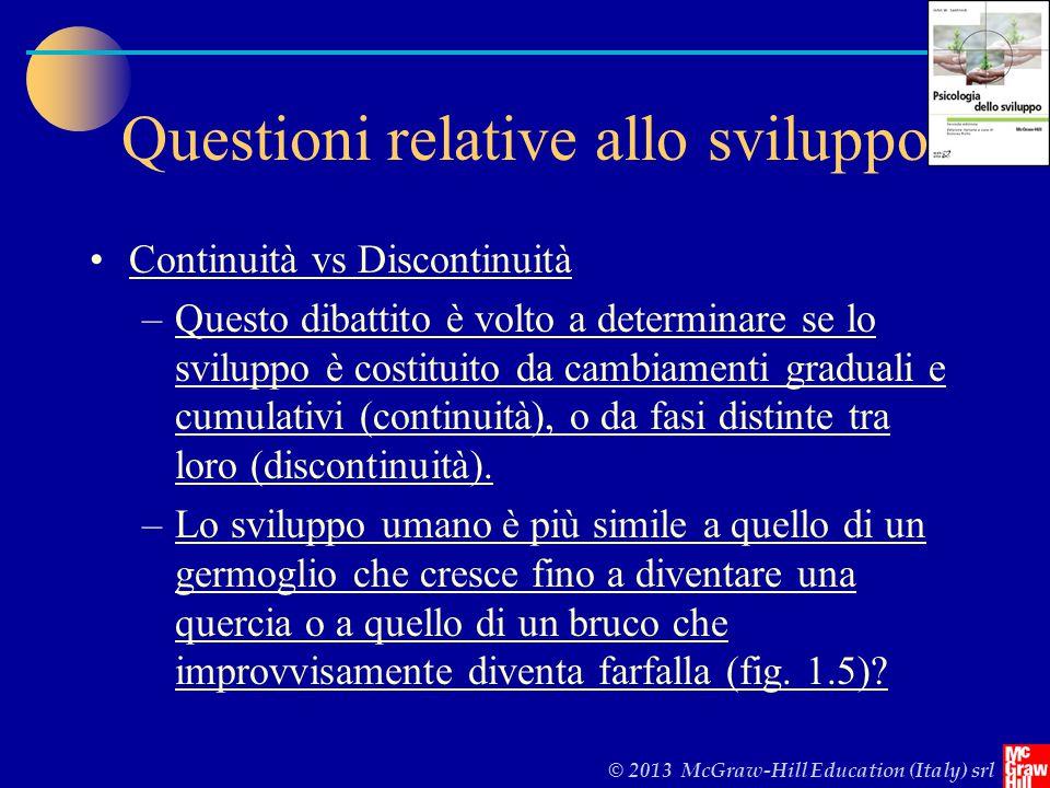 © 2013 McGraw-Hill Education (Italy) srl Questioni relative allo sviluppo Continuità vs Discontinuità –Questo dibattito è volto a determinare se lo sviluppo è costituito da cambiamenti graduali e cumulativi (continuità), o da fasi distinte tra loro (discontinuità).